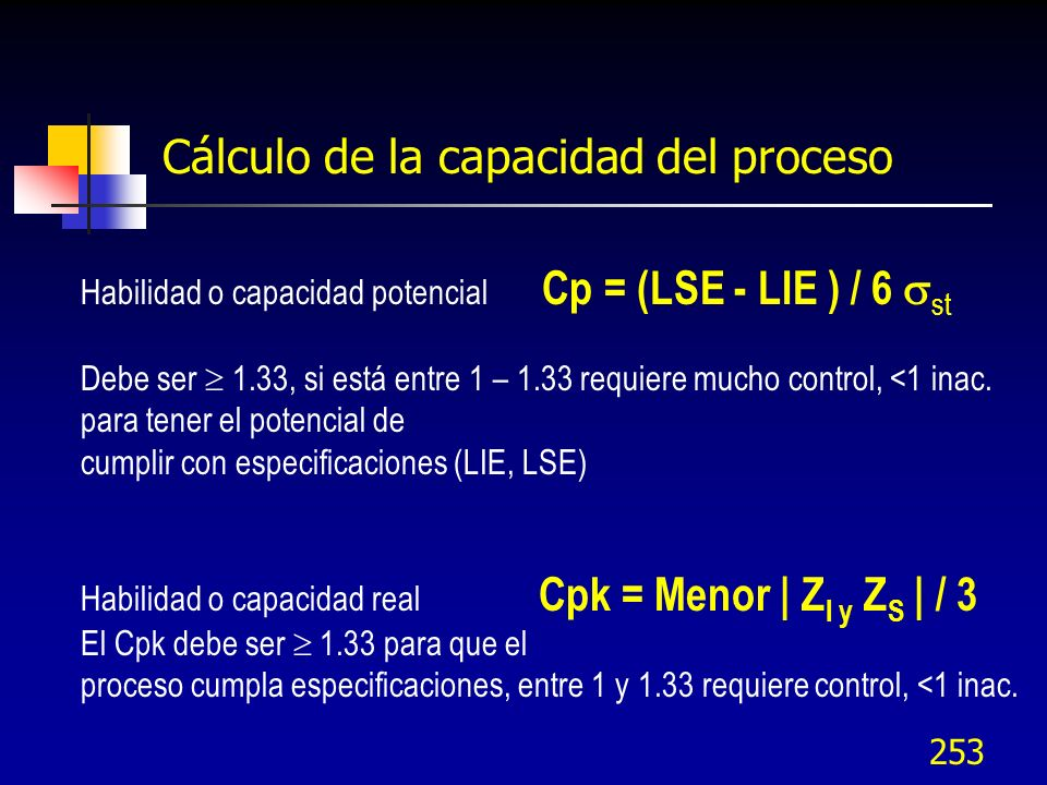 253 Cálculo de la capacidad del proceso Habilidad o capacidad potencial Cp = (LSE - LIE ) / 6 st Debe ser 1.33, si está entre 1 – 1.33 requiere mucho