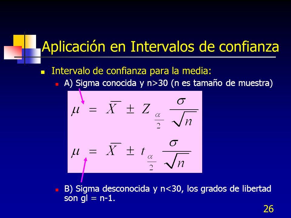 26 Aplicación en Intervalos de confianza Intervalo de confianza para la media: A) Sigma conocida y n>30 (n es tamaño de muestra) B) Sigma desconocida