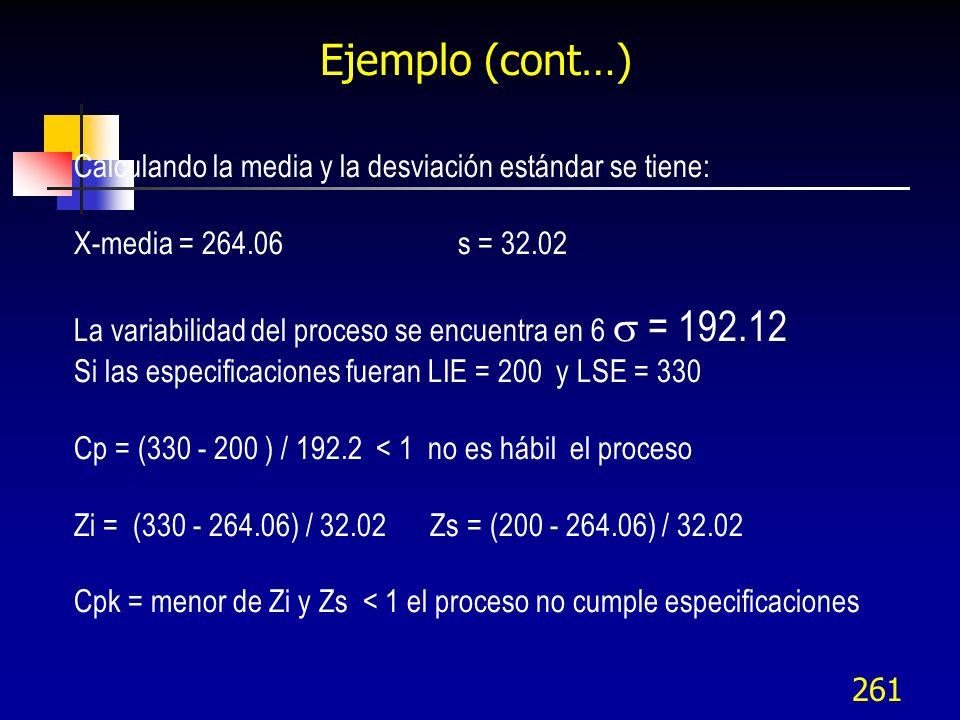 261 Ejemplo (cont…) Calculando la media y la desviación estándar se tiene: X-media = 264.06s = 32.02 La variabilidad del proceso se encuentra en 6 = 1