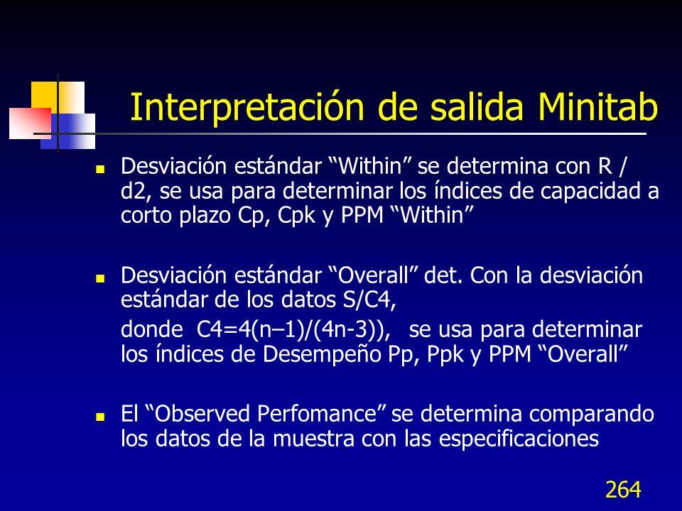 264 Interpretación de salida Minitab Desviación estándar Within se determina con R / d2, se usa para determinar los índices de capacidad a corto plazo