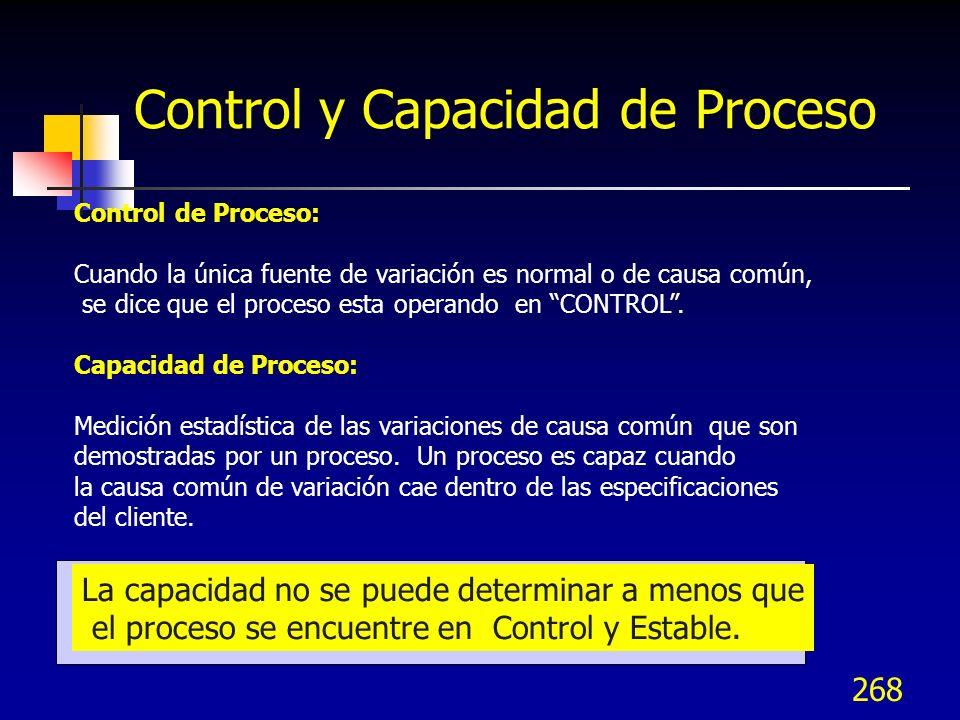 268 Control y Capacidad de Proceso Control de Proceso: Cuando la única fuente de variación es normal o de causa común, se dice que el proceso esta ope