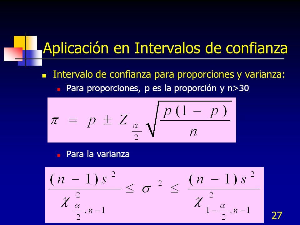 27 Aplicación en Intervalos de confianza Intervalo de confianza para proporciones y varianza: Para proporciones, p es la proporción y n>30 Para la var