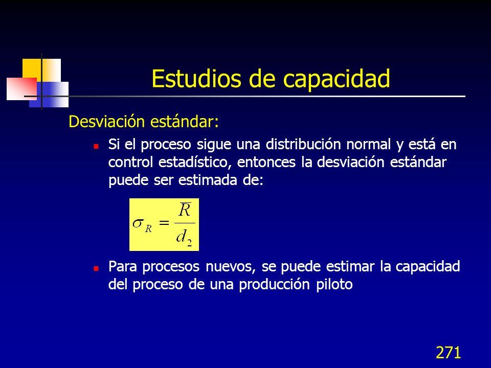 271 Desviación estándar: Si el proceso sigue una distribución normal y está en control estadístico, entonces la desviación estándar puede ser estimada