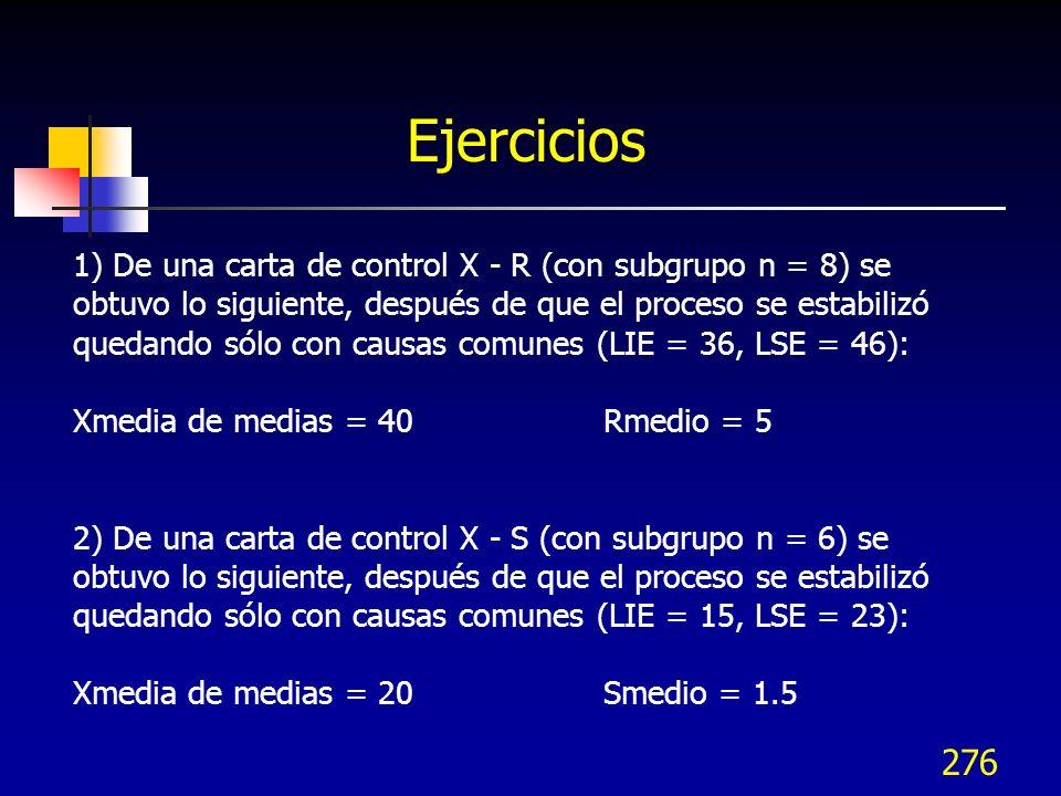 276 Ejercicios 1) De una carta de control X - R (con subgrupo n = 8) se obtuvo lo siguiente, después de que el proceso se estabilizó quedando sólo con