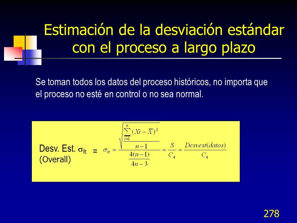 278 Se toman todos los datos del proceso históricos, no importa que el proceso no esté en control o no sea normal. Desv. Est. lt (Overall) = Estimació