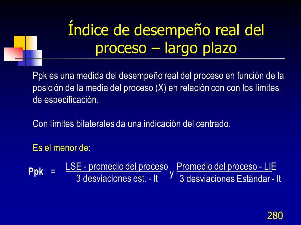 280 Ppk es una medida del desempeño real del proceso en función de la posición de la media del proceso (X) en relación con con los límites de especifi
