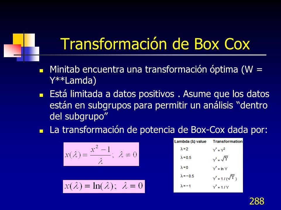 288 Transformación de Box Cox Minitab encuentra una transformación óptima (W = Y**Lamda) Está limitada a datos positivos. Asume que los datos están en