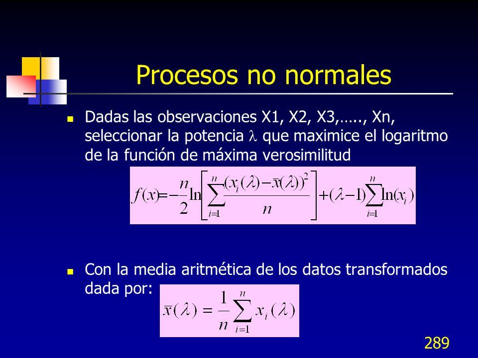 289 Procesos no normales Dadas las observaciones X1, X2, X3,….., Xn, seleccionar la potencia que maximice el logaritmo de la función de máxima verosim