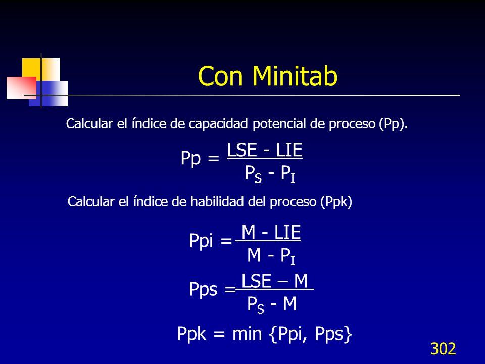 302 Con Minitab Calcular el índice de capacidad potencial de proceso (Pp). LSE - LIE P S - P I Pp = Calcular el índice de habilidad del proceso (Ppk)