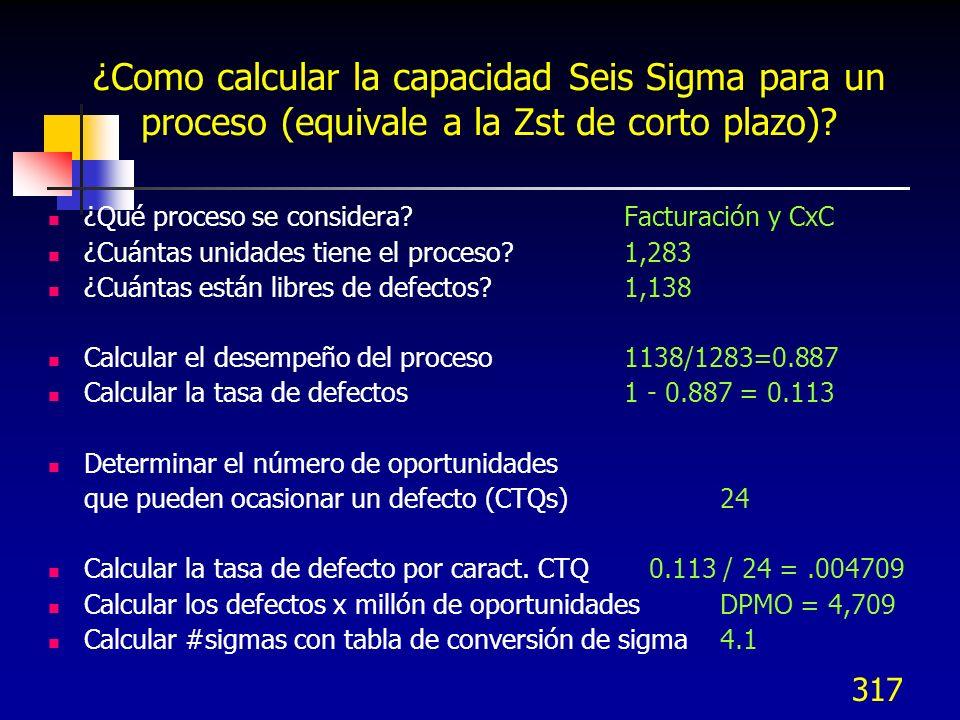 317 ¿Como calcular la capacidad Seis Sigma para un proceso (equivale a la Zst de corto plazo)? ¿Qué proceso se considera?Facturación y CxC ¿Cuántas un