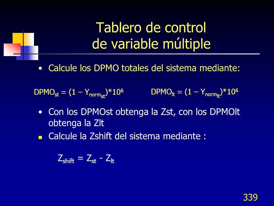 339 Tablero de control de variable múltiple Calcule los DPMO totales del sistema mediante: Con los DPMOst obtenga la Zst, con los DPMOlt obtenga la Zl