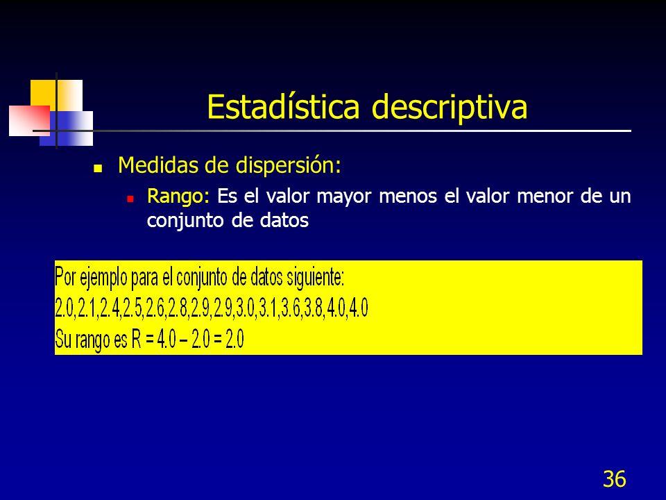 36 Estadística descriptiva Medidas de dispersión: Rango: Es el valor mayor menos el valor menor de un conjunto de datos
