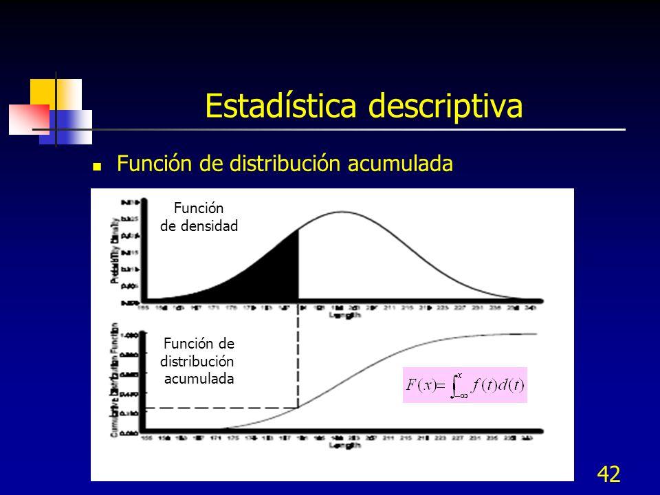 42 Estadística descriptiva Función de distribución acumulada Función de densidad Función de distribución acumulada