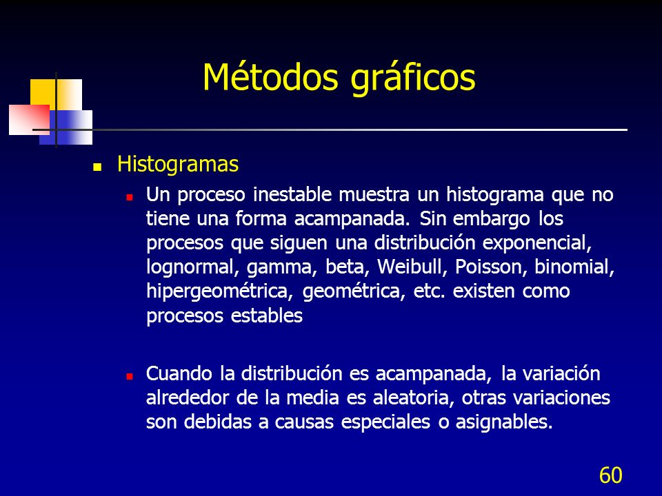 60 Métodos gráficos Histogramas Un proceso inestable muestra un histograma que no tiene una forma acampanada. Sin embargo los procesos que siguen una