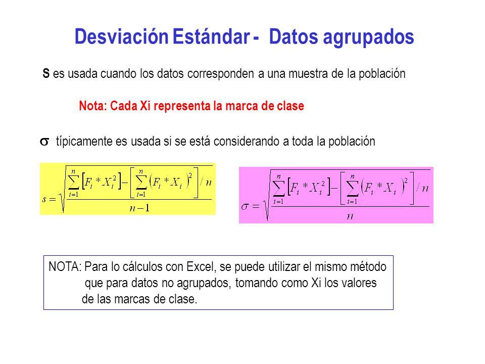 Desviación Estándar - Datos agrupados S es usada cuando los datos corresponden a una muestra de la población Nota: Cada Xi representa la marca de clas