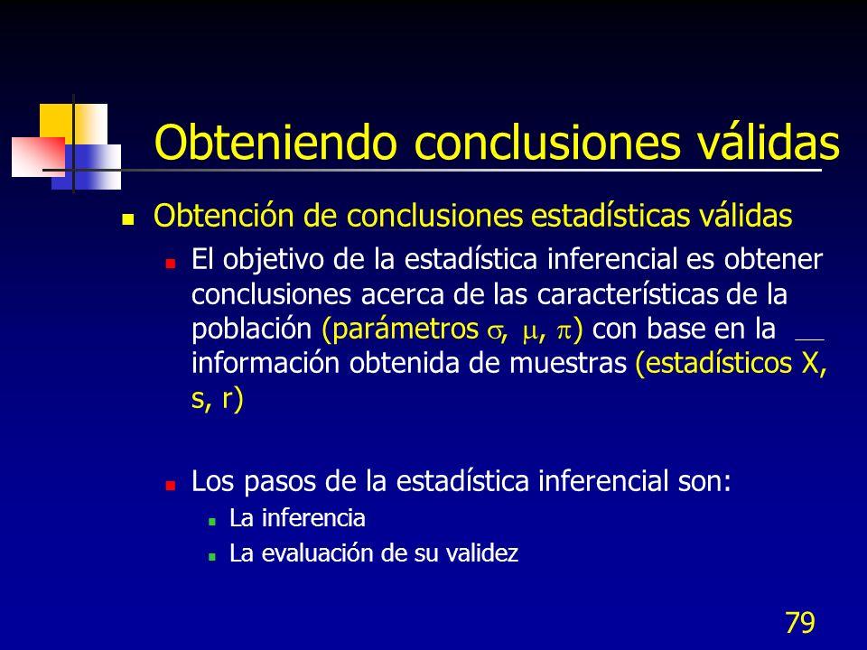 79 Obteniendo conclusiones válidas Obtención de conclusiones estadísticas válidas El objetivo de la estadística inferencial es obtener conclusiones ac
