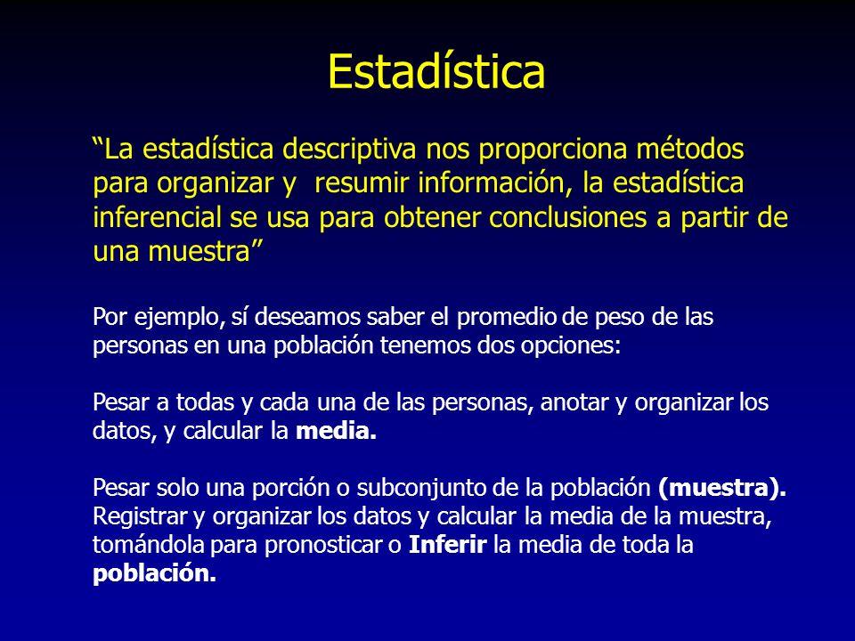 La estadística descriptiva nos proporciona métodos para organizar y resumir información, la estadística inferencial se usa para obtener conclusiones a