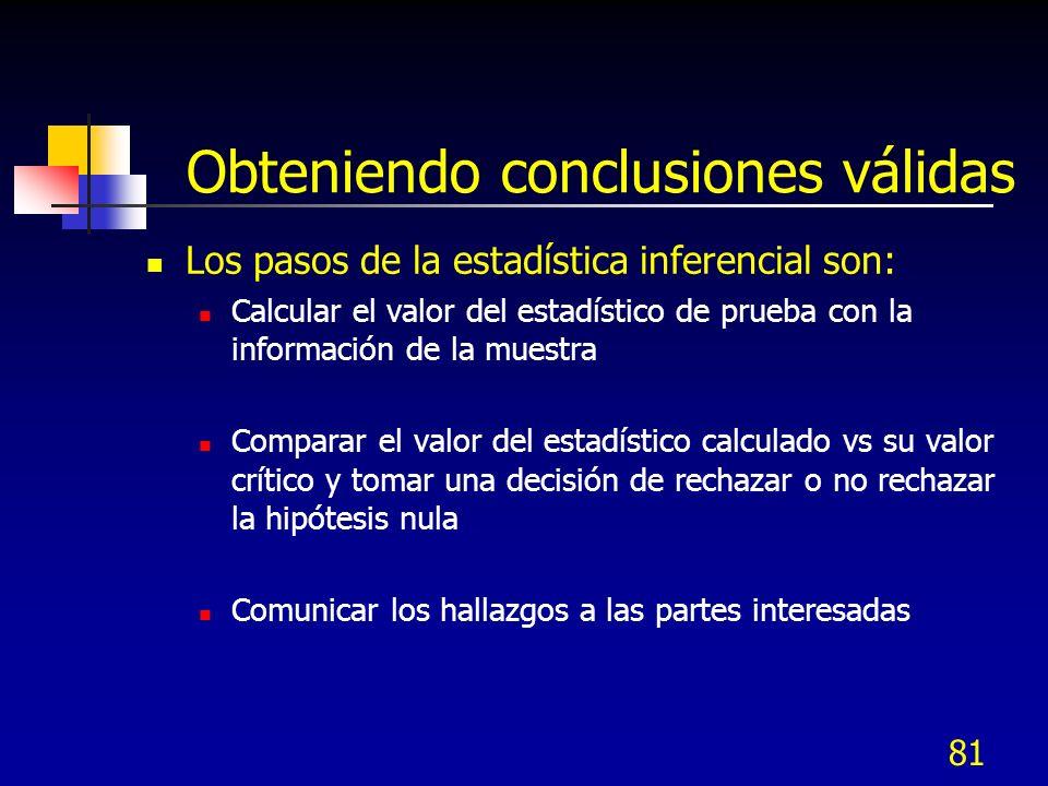 81 Obteniendo conclusiones válidas Los pasos de la estadística inferencial son: Calcular el valor del estadístico de prueba con la información de la m
