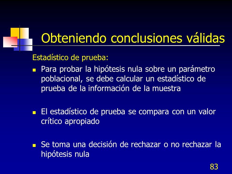 83 Obteniendo conclusiones válidas Estadístico de prueba: Para probar la hipótesis nula sobre un parámetro poblacional, se debe calcular un estadístic