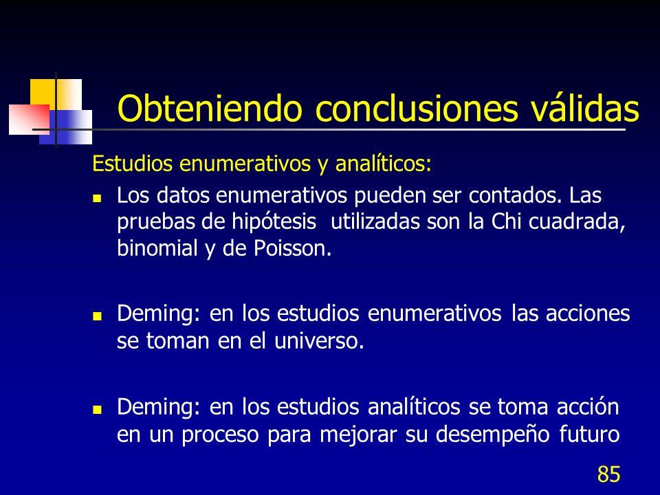 85 Obteniendo conclusiones válidas Estudios enumerativos y analíticos: Los datos enumerativos pueden ser contados. Las pruebas de hipótesis utilizadas