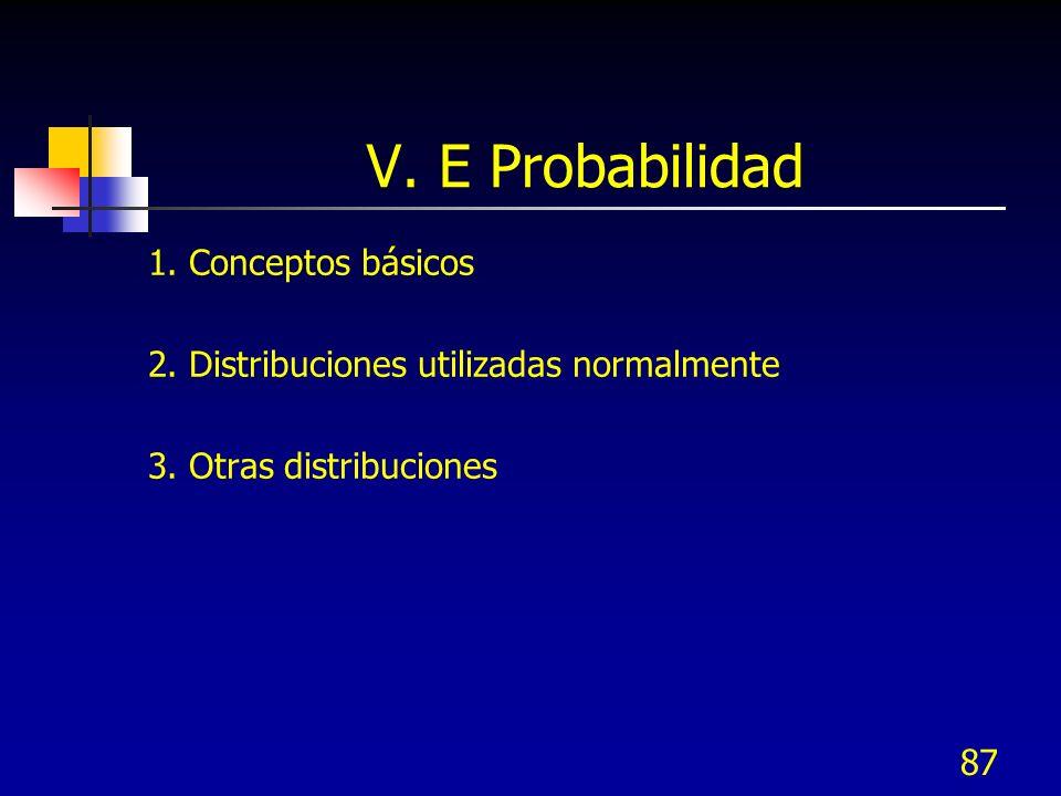 1. Conceptos básicos 2. Distribuciones utilizadas normalmente 3. Otras distribuciones 87