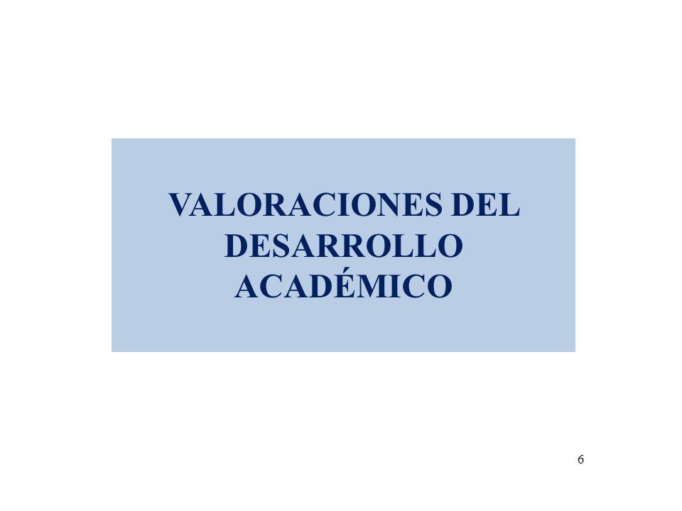 VALORACIONES DEL DESARROLLO ACADÉMICO 6