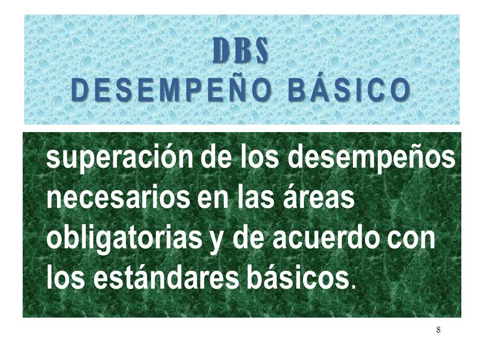 DBS DESEMPEÑO BÁSICO superación de los desempeños necesarios en las áreas obligatorias y de acuerdo con los estándares básicos. 8