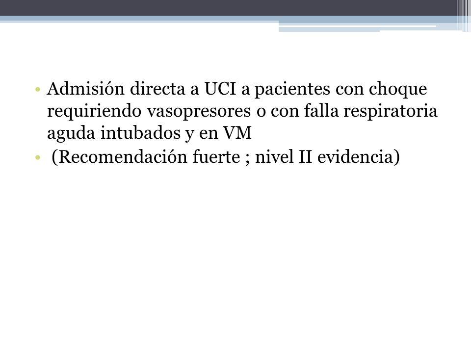 Admisión directa a UCI a pacientes con choque requiriendo vasopresores o con falla respiratoria aguda intubados y en VM (Recomendación fuerte ; nivel
