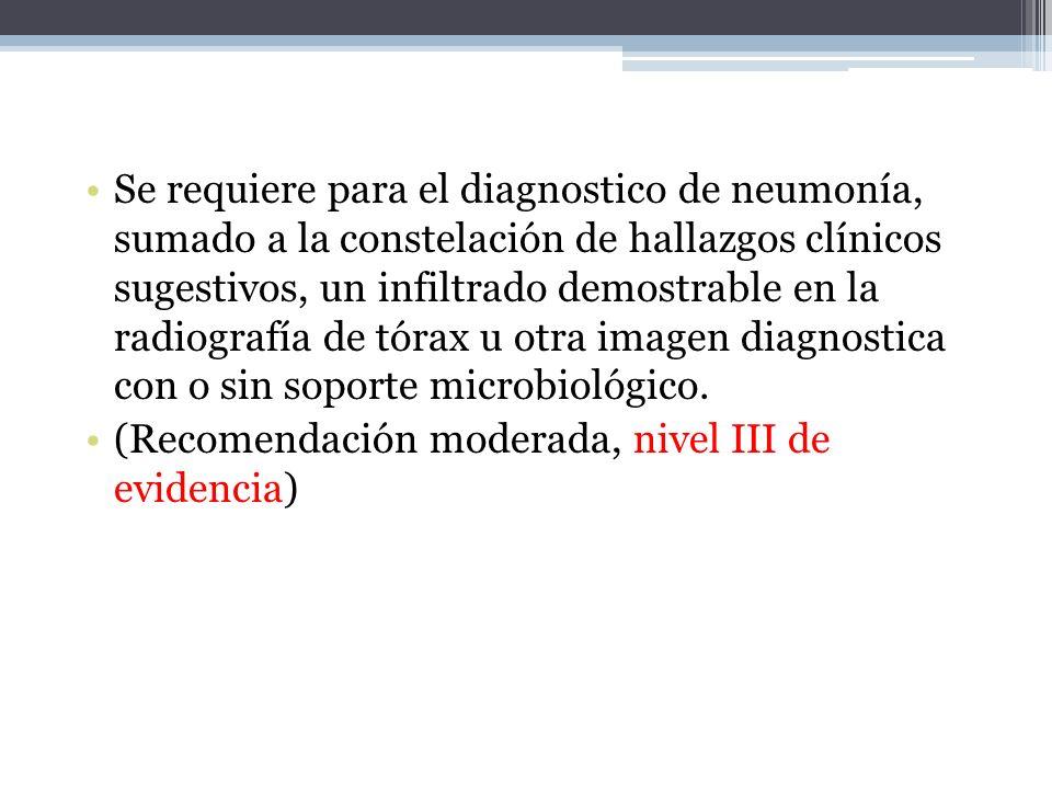 Se requiere para el diagnostico de neumonía, sumado a la constelación de hallazgos clínicos sugestivos, un infiltrado demostrable en la radiografía de
