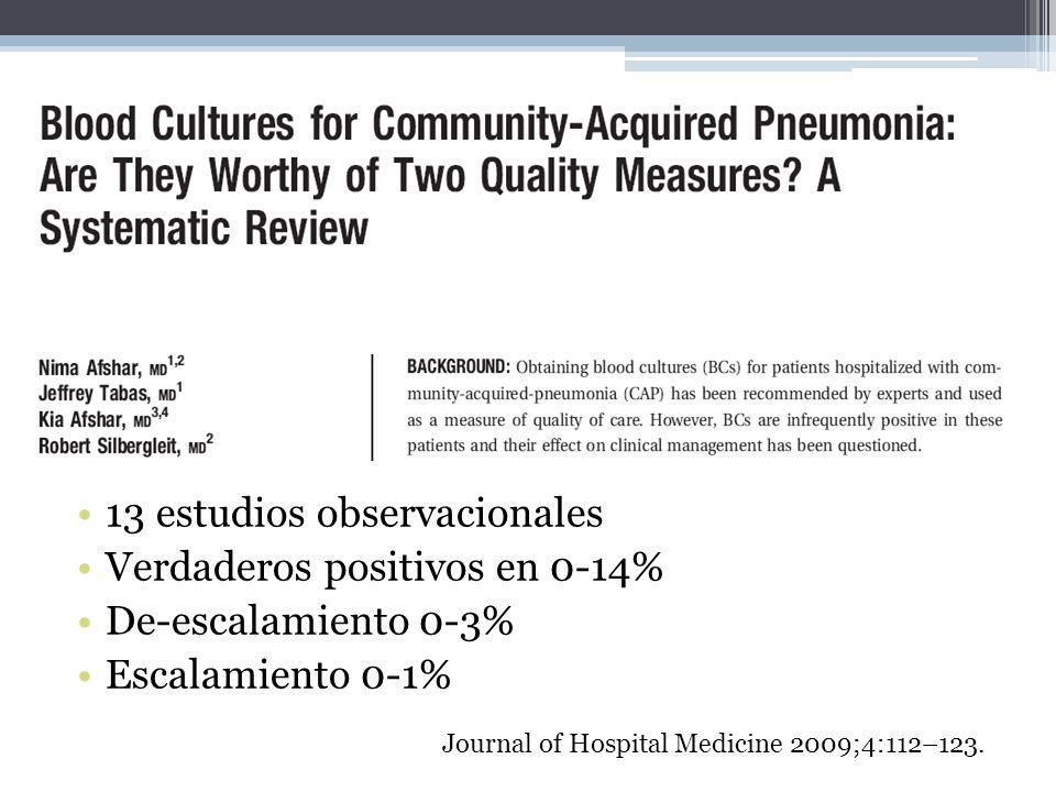 13 estudios observacionales Verdaderos positivos en 0-14% De-escalamiento 0-3% Escalamiento 0-1% Journal of Hospital Medicine 2009;4:112–123.