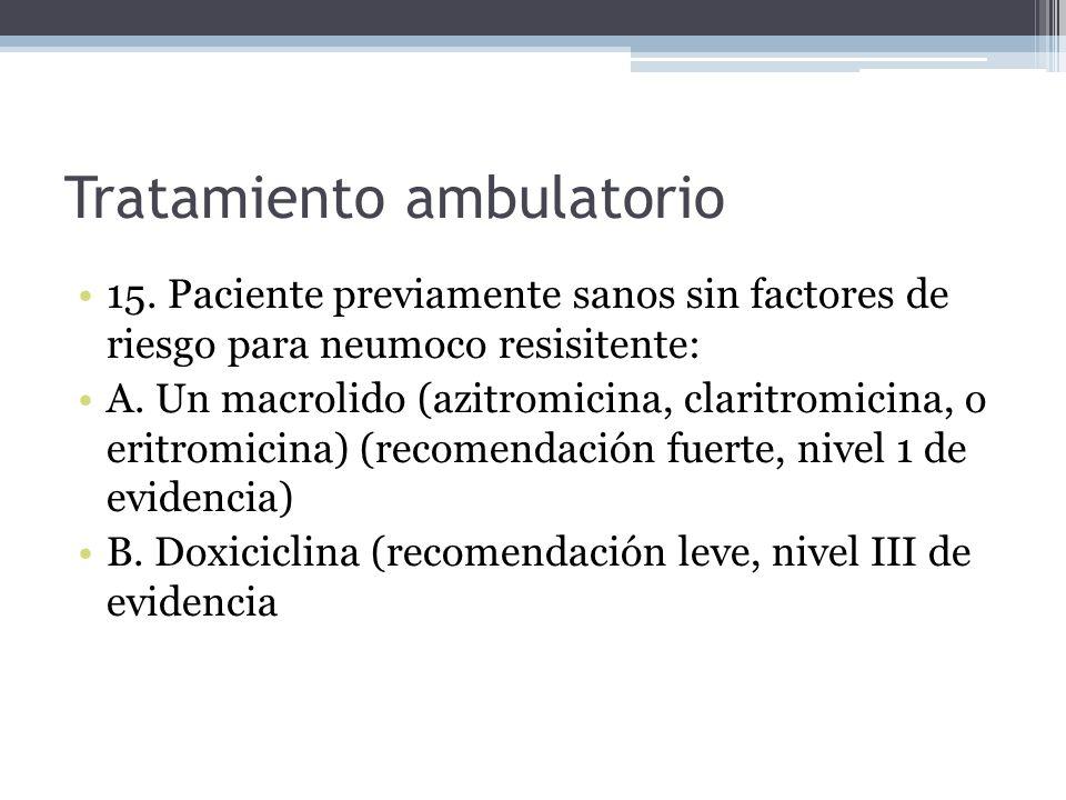 Tratamiento ambulatorio 15. Paciente previamente sanos sin factores de riesgo para neumoco resisitente: A. Un macrolido (azitromicina, claritromicina,