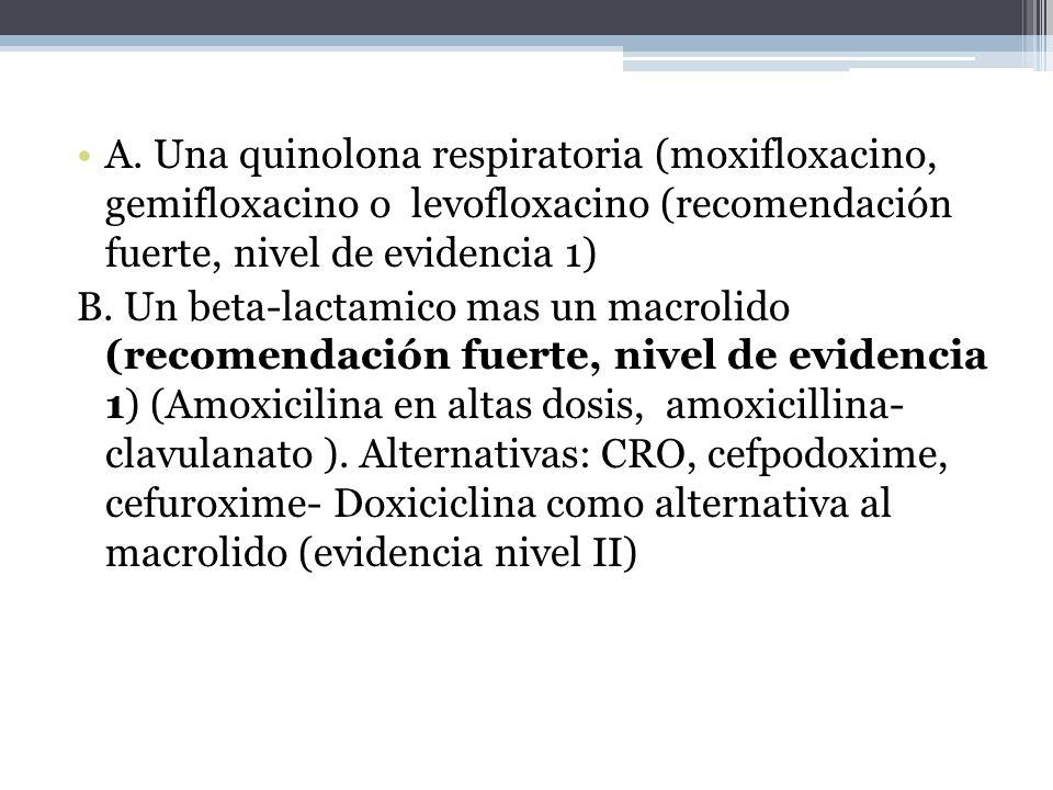 A. Una quinolona respiratoria (moxifloxacino, gemifloxacino o levofloxacino (recomendación fuerte, nivel de evidencia 1) B. Un beta-lactamico mas un m