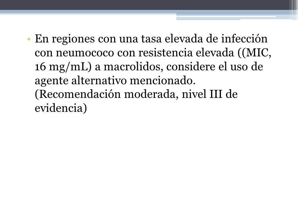 En regiones con una tasa elevada de infección con neumococo con resistencia elevada ((MIC, 16 mg/mL) a macrolidos, considere el uso de agente alternat