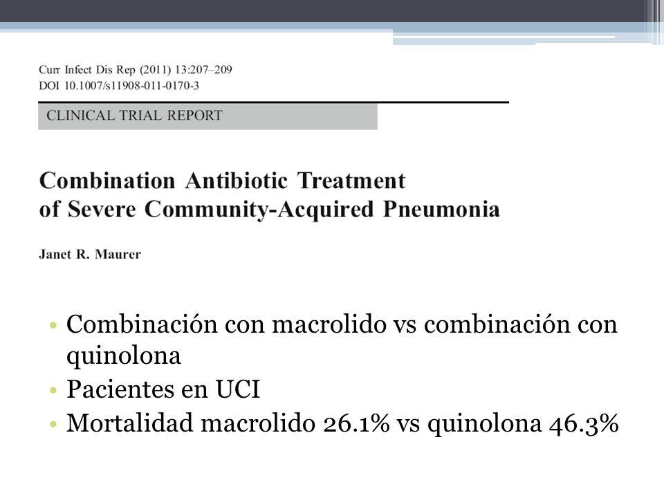 Combinación con macrolido vs combinación con quinolona Pacientes en UCI Mortalidad macrolido 26.1% vs quinolona 46.3%