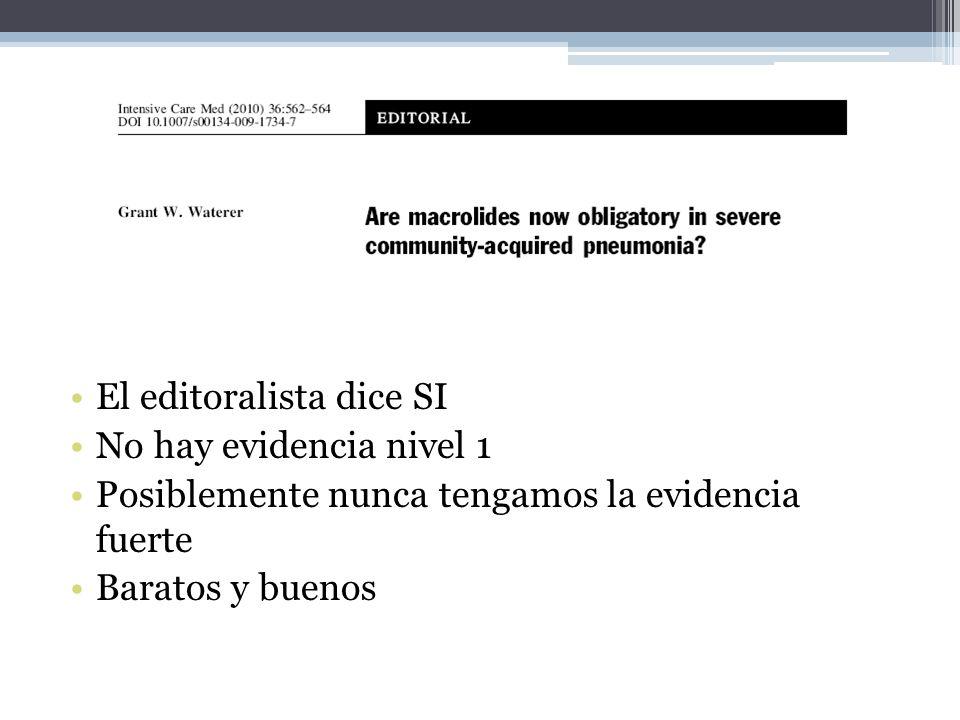 El editoralista dice SI No hay evidencia nivel 1 Posiblemente nunca tengamos la evidencia fuerte Baratos y buenos