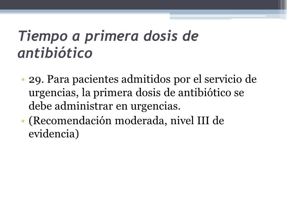 Tiempo a primera dosis de antibiótico 29. Para pacientes admitidos por el servicio de urgencias, la primera dosis de antibiótico se debe administrar e