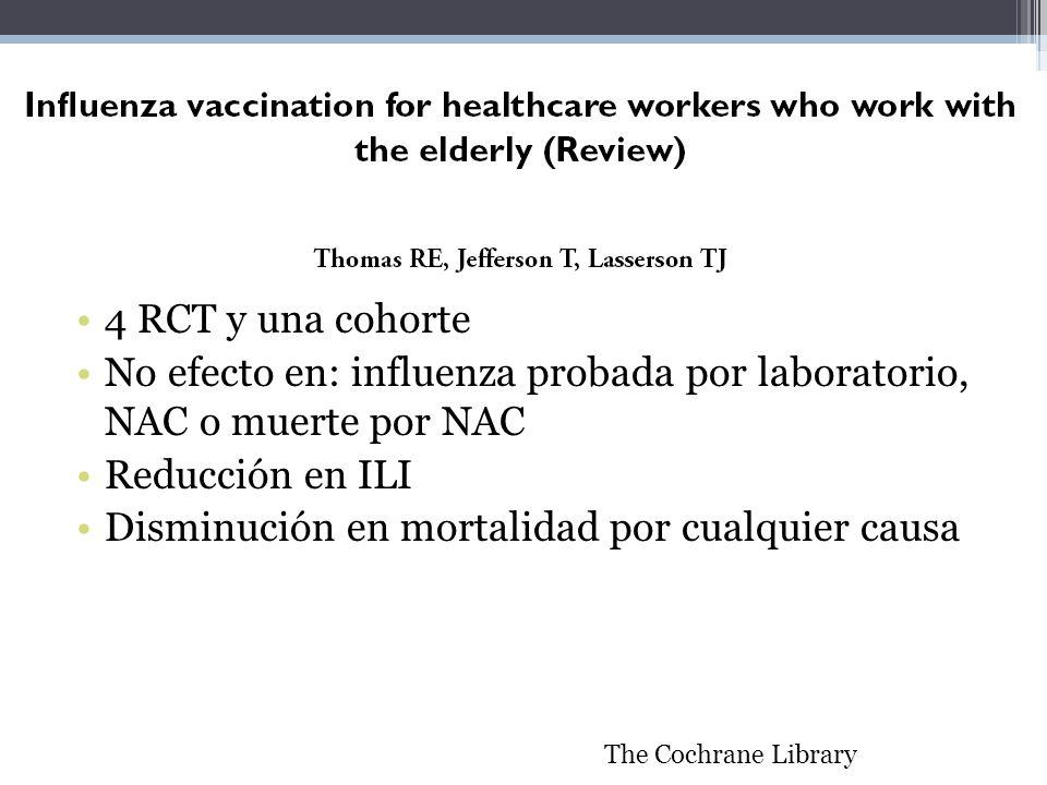 4 RCT y una cohorte No efecto en: influenza probada por laboratorio, NAC o muerte por NAC Reducción en ILI Disminución en mortalidad por cualquier cau