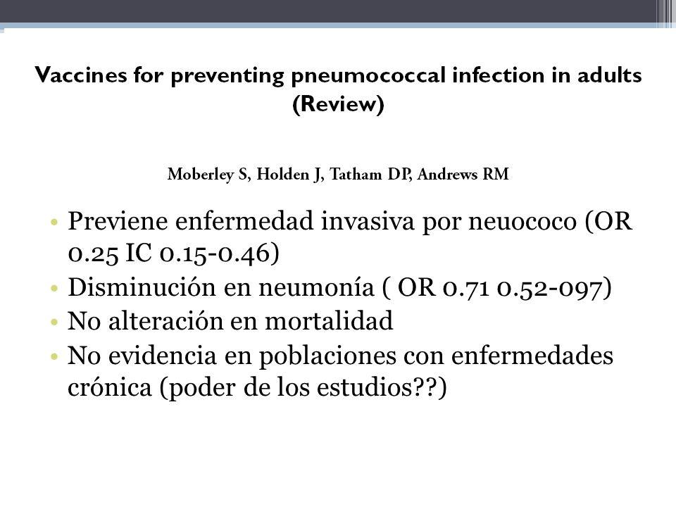13 RCT 7 NO RCT Previene enfermedad invasiva por neuococo (OR 0.25 IC 0.15-0.46) Disminución en neumonía ( OR 0.71 0.52-097) No alteración en mortalid