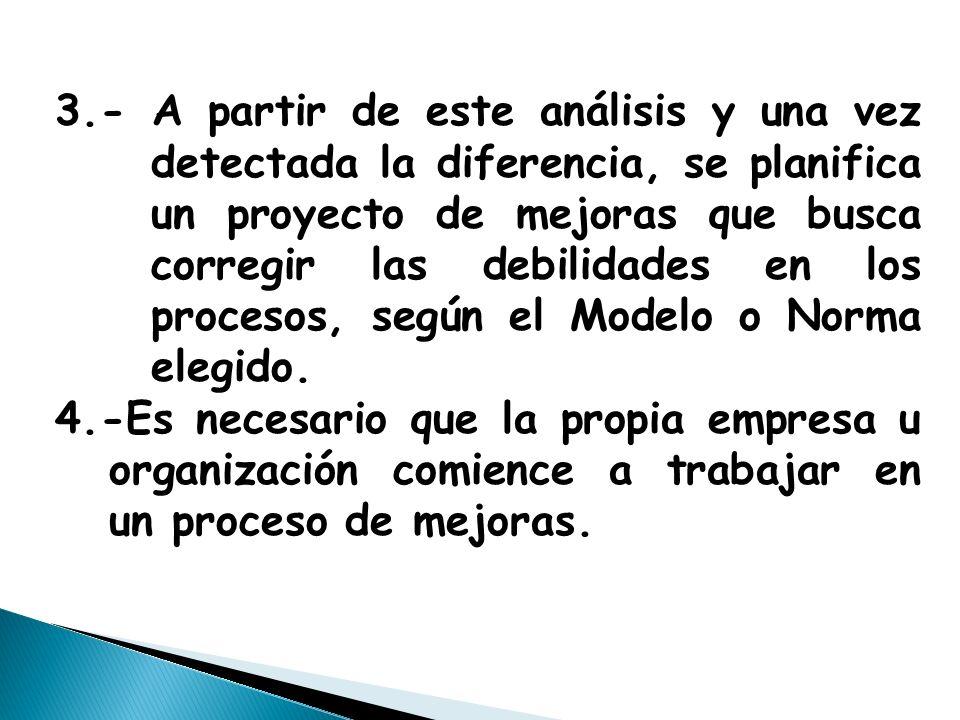 3.- A partir de este análisis y una vez detectada la diferencia, se planifica un proyecto de mejoras que busca corregir las debilidades en los procesos, según el Modelo o Norma elegido.