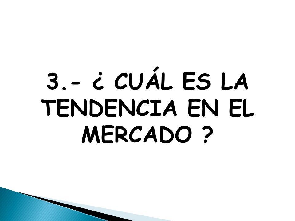 3.- ¿ CUÁL ES LA TENDENCIA EN EL MERCADO