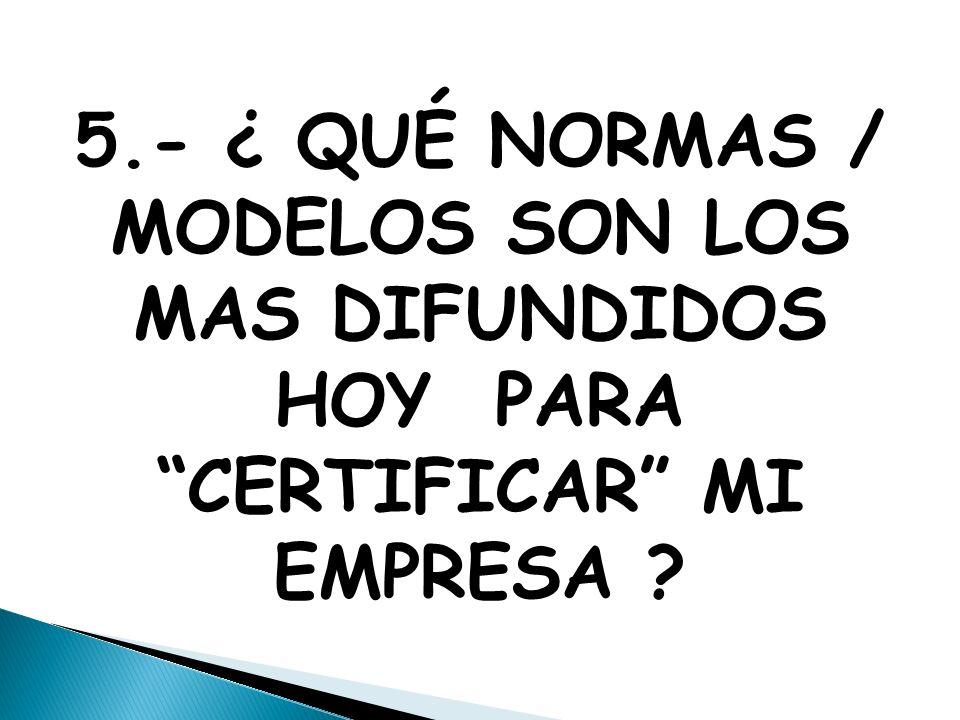 5.- ¿ QUÉ NORMAS / MODELOS SON LOS MAS DIFUNDIDOS HOY PARA CERTIFICAR MI EMPRESA