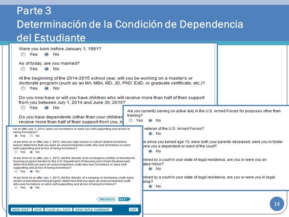 Parte 3 Determinación de la Condición de Dependencia del Estudiante 14