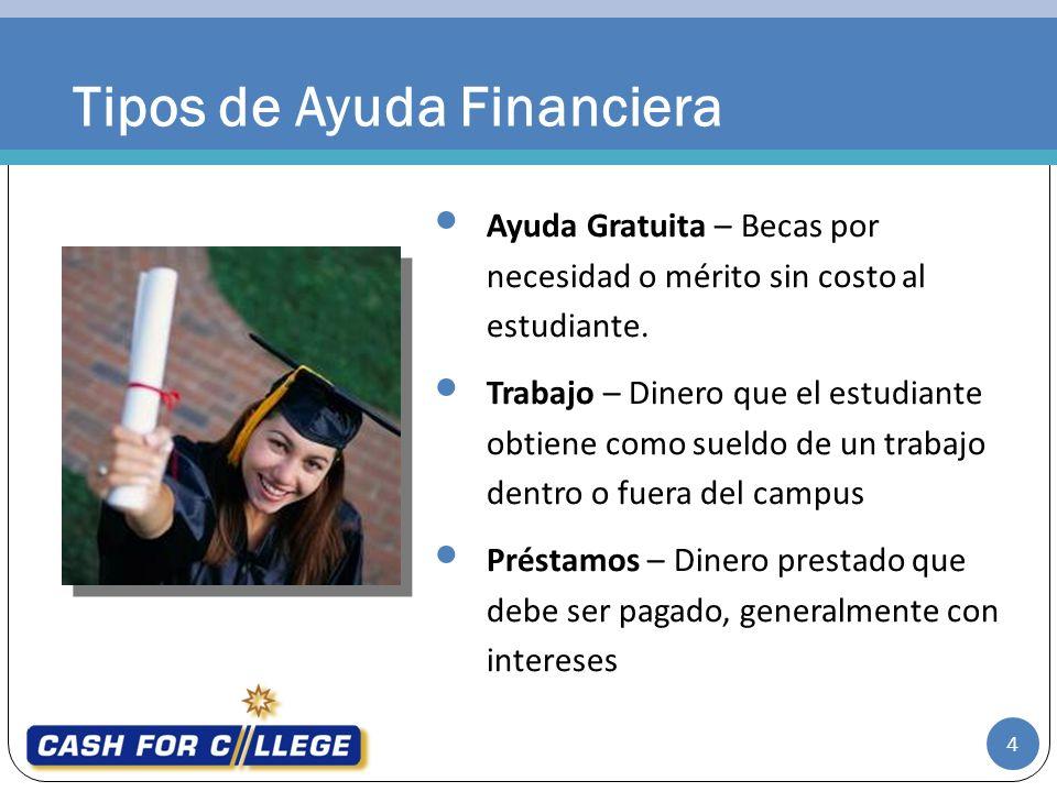 Tipos de Ayuda Financiera Ayuda Gratuita – Becas por necesidad o mérito sin costo al estudiante. Trabajo – Dinero que el estudiante obtiene como sueld