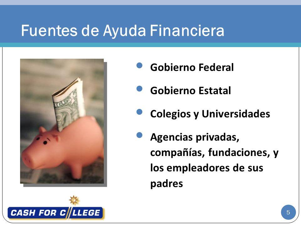 Fuentes de Ayuda Financiera Gobierno Federal Gobierno Estatal Colegios y Universidades Agencias privadas, compañías, fundaciones, y los empleadores de