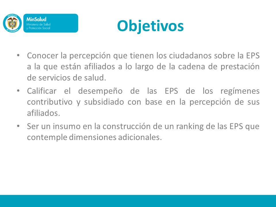 Objetivos Conocer la percepción que tienen los ciudadanos sobre la EPS a la que están afiliados a lo largo de la cadena de prestación de servicios de