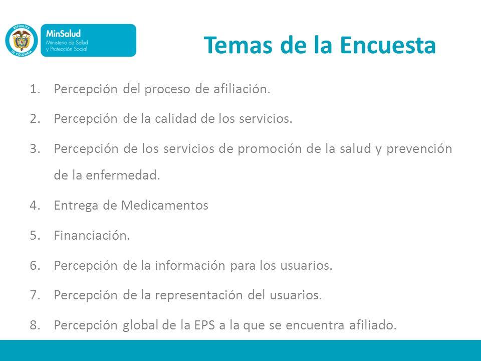 Temas de la Encuesta 1.Percepción del proceso de afiliación. 2.Percepción de la calidad de los servicios. 3.Percepción de los servicios de promoción d