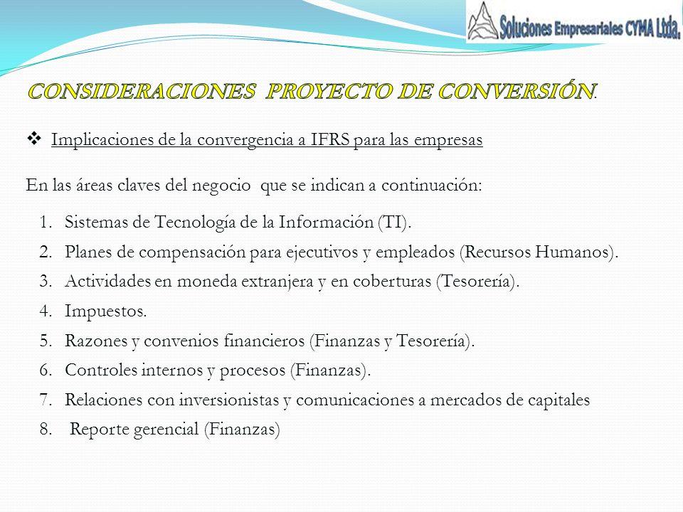 1.Sistemas de Tecnología de la Información (TI). 2.Planes de compensación para ejecutivos y empleados (Recursos Humanos). 3.Actividades en moneda extr