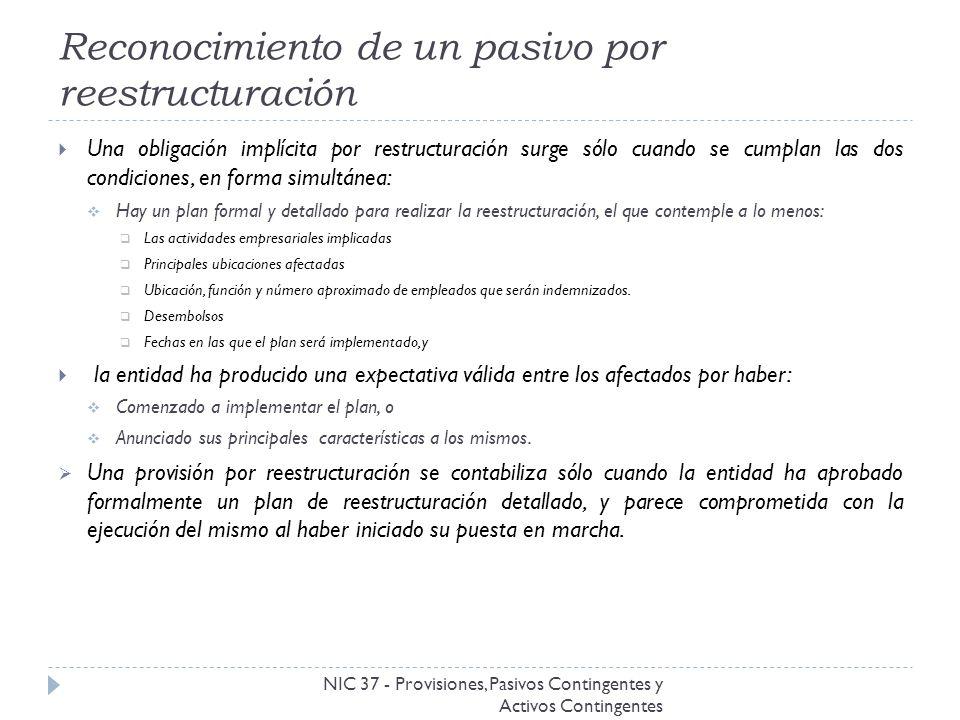 Reconocimiento de un pasivo por reestructuración NIC 37 - Provisiones, Pasivos Contingentes y Activos Contingentes Una obligación implícita por restru