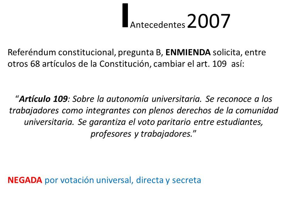 Referéndum constitucional, pregunta B, ENMIENDA solicita, entre otros 68 artículos de la Constitución, cambiar el art. 109 así: Artículo 109: Sobre la