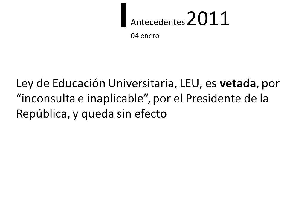 Antecedentes 2011 04 enero Ley de Educación Universitaria, LEU, es vetada, por inconsulta e inaplicable, por el Presidente de la República, y queda si